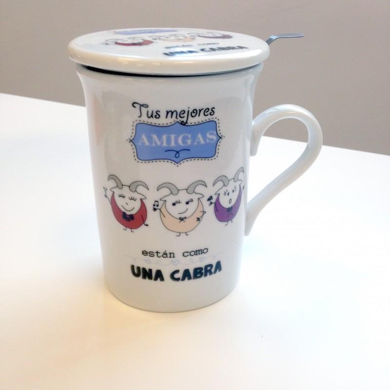 Taza de t con filtro y con la frase tus mejores amigas for Tazas para te