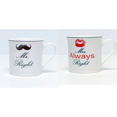 Pack de tazas Mr and Mrs Right