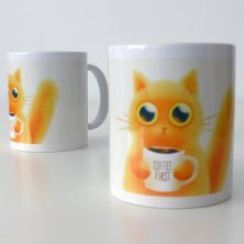 Taza Coffee First + gatito