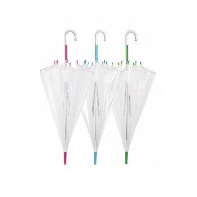 paraguas con mango azul y plastico transparente