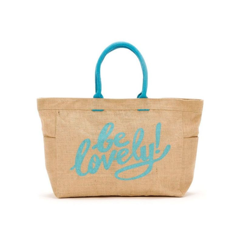 Bolso playa con frase: be lovely